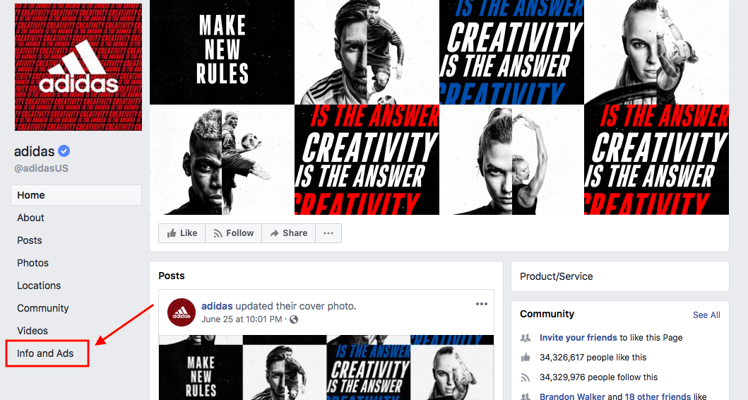 Facebook Page Info and Ads Section