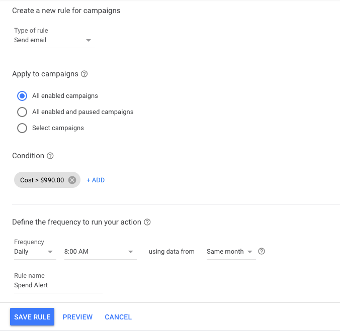 google ads automated rule