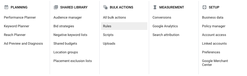 facebook ads menu automation rules