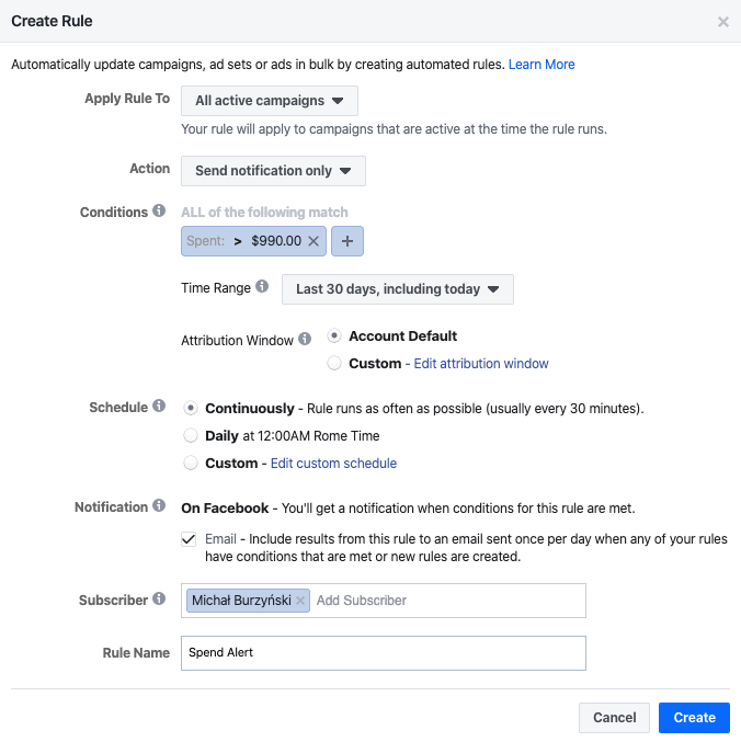 facebook automated rule to send notification