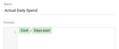 actual daily spend formula google data studio