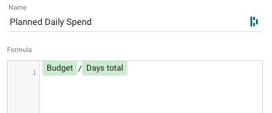 planner daily budget formula google data studio