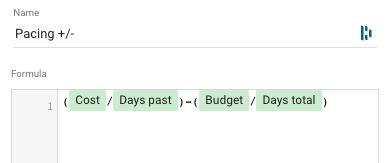 spend pacing formula google data studio