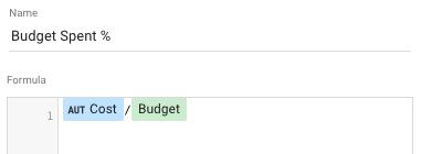 percentage of budget used formula google data studio