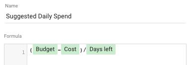 suggested daily spend formula google data studio