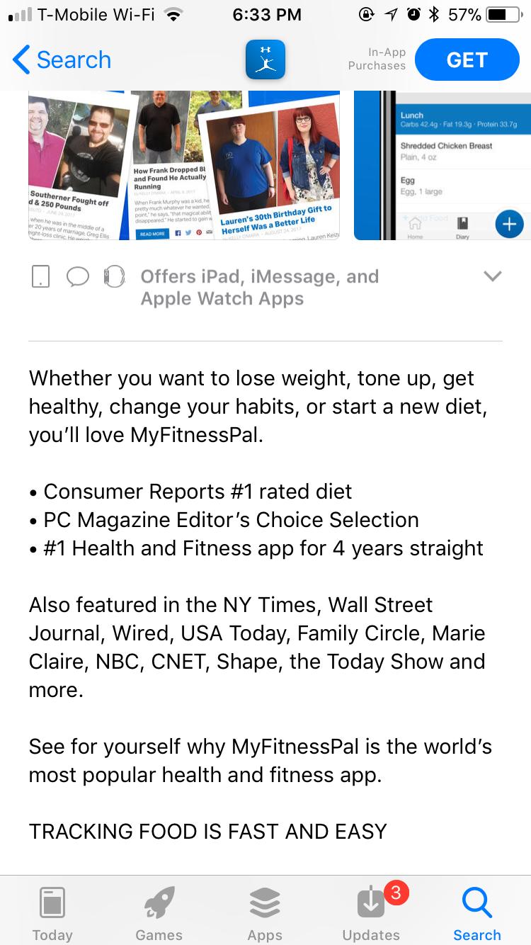 MyFitnessPal - Social Proof in Apple App Store