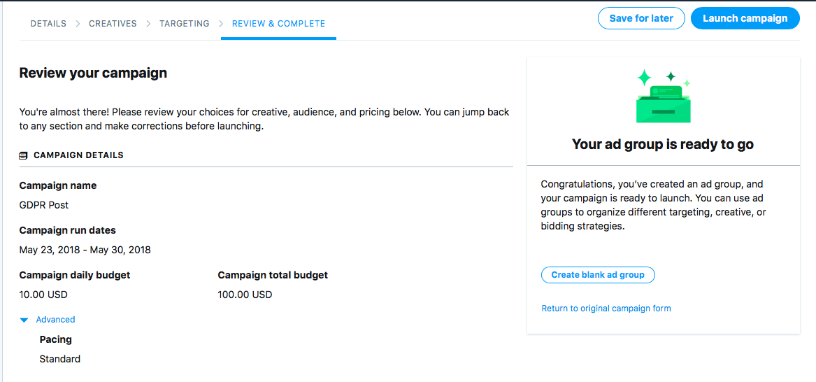 Review Twitter Ads Campaign