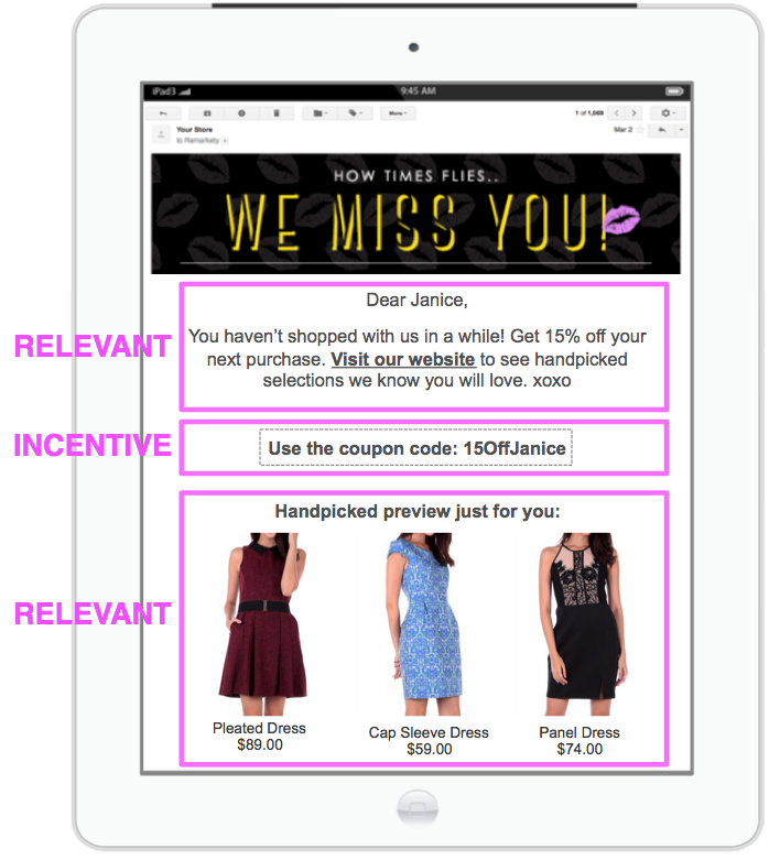 Emails remarketing campaign example