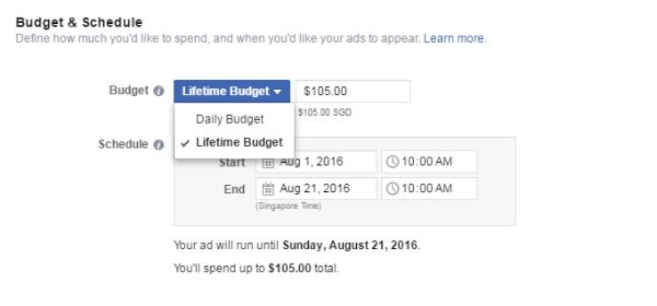 Facebook Lifetime budget - Facebook Ads