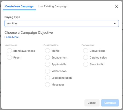 When creating new ad campaign on Facebook, you can choose from various objectives that will help you with either awareness, consideration or conversion stage.