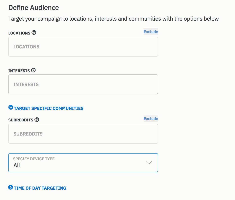 ads on reddit - define audience