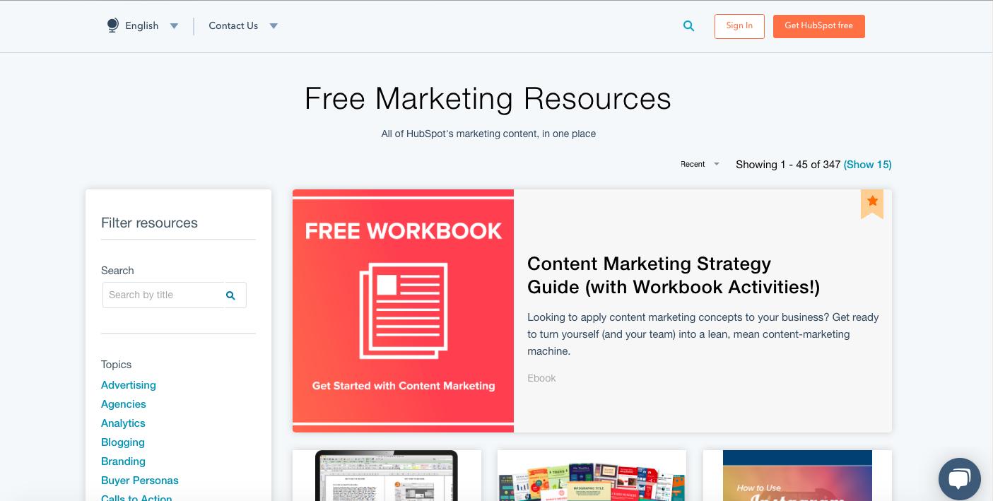 HubSpot Free Marketing Resoures