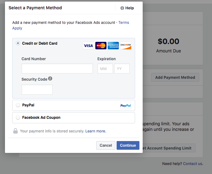 Facebook Select A Payment Method