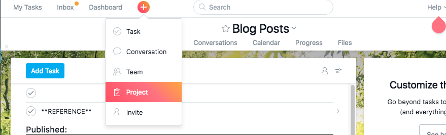 Creating a New Project in Asana