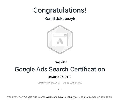 Google Ads Search Marketing Certification