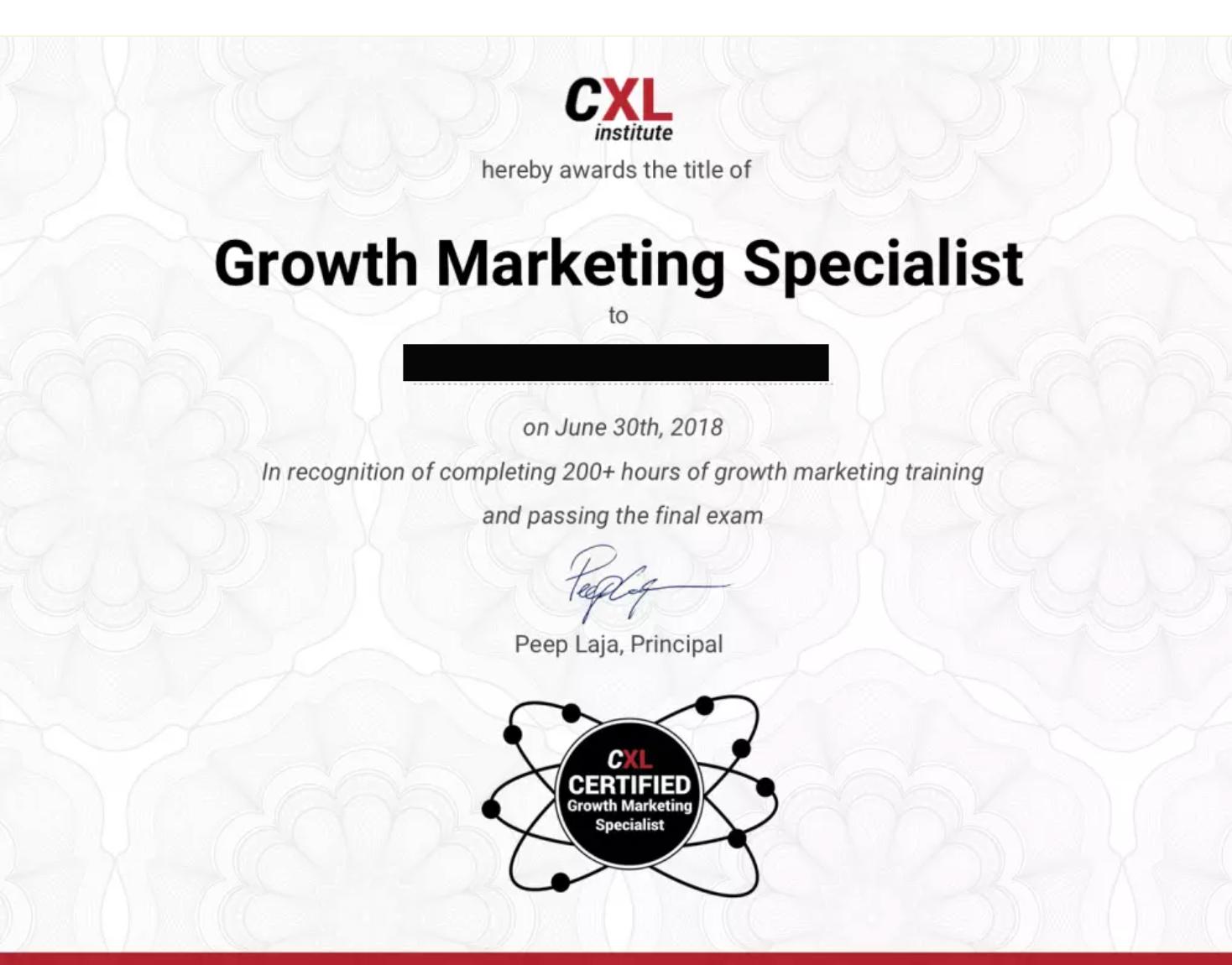 CXL growth marketing certification