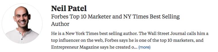 Neil Patel's Quora Profile Bio