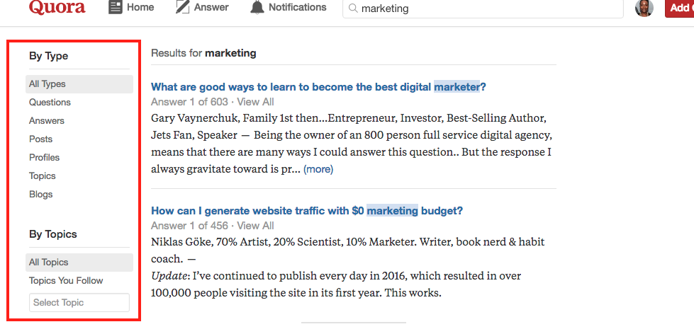 Search Filters in Quora