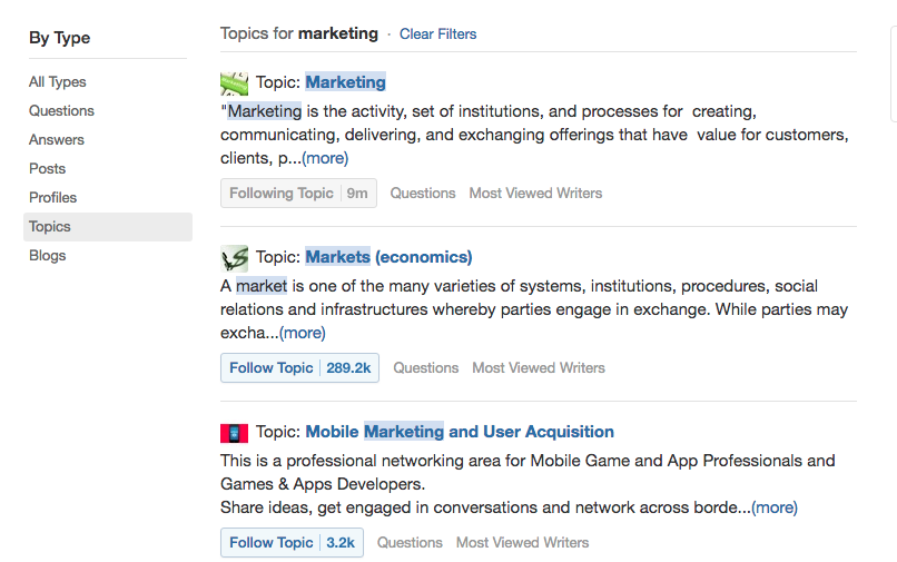 Search for Quora Topics by Type