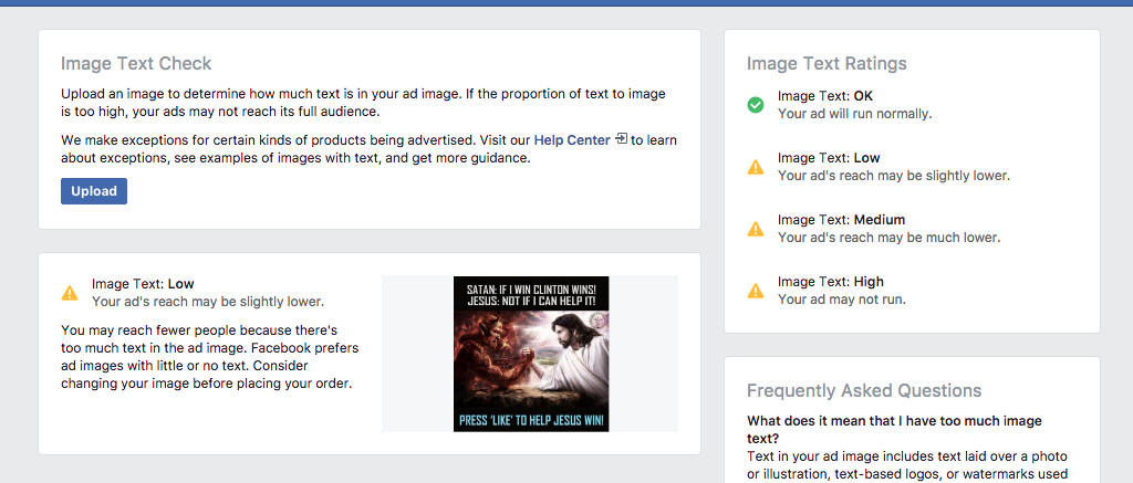 Running a Russian Ad through Facebook's Image Text Check Tool
