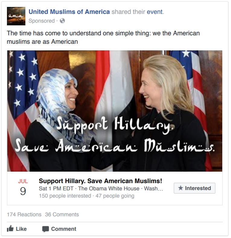 A Pro-Hillary Clinton Russian Facebook Ad