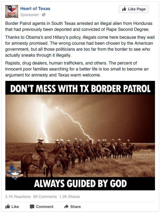 Visual Used In an Ad by the Heart of Texas Facebook Group
