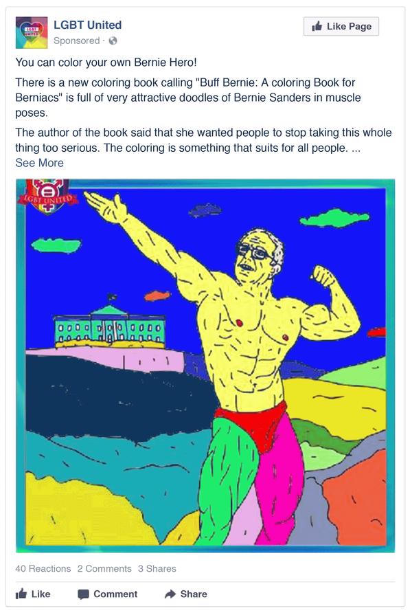 Bernie Sanders Russian Facebook Ad from LGBT Unitrd