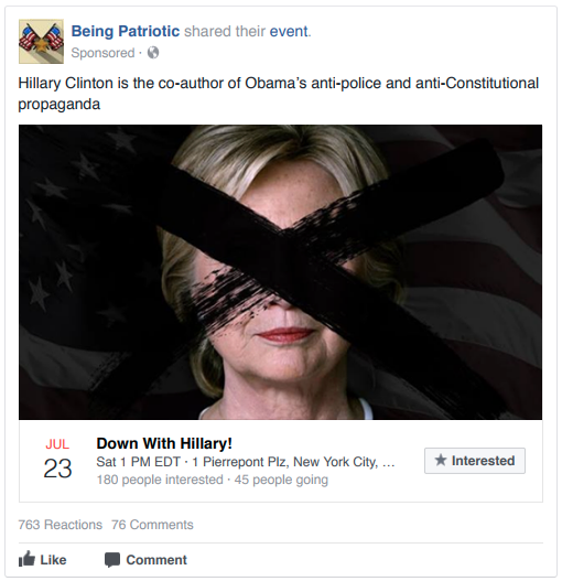 A Russian Facebook sponsored event against Hillary Clinton