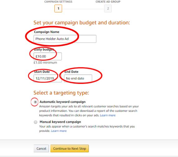 Amazon automatic keyword campaign