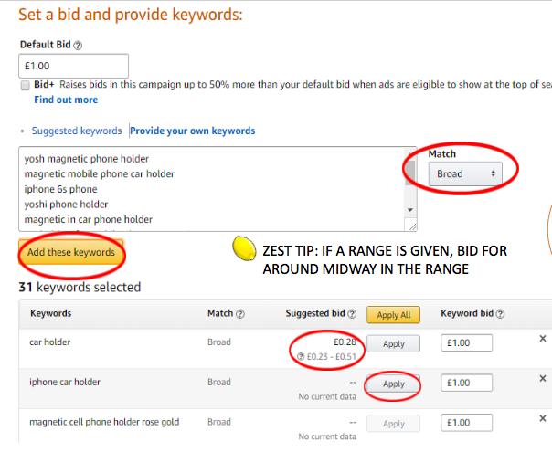 Adding keywords to Amazon Ads