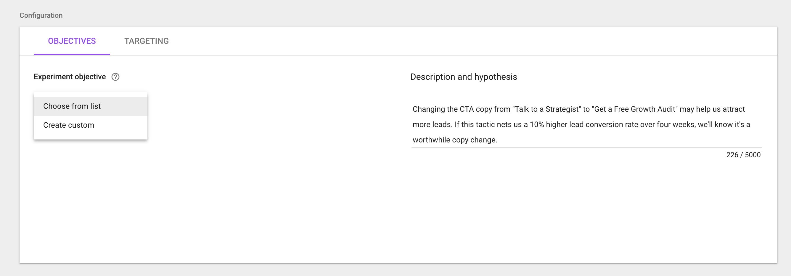 Google Optimize Choose Objective