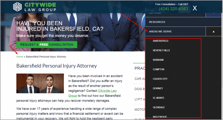 Citywide Law Group is an example of using a drop-down menu where they link to each of the landing page locations they want to target.