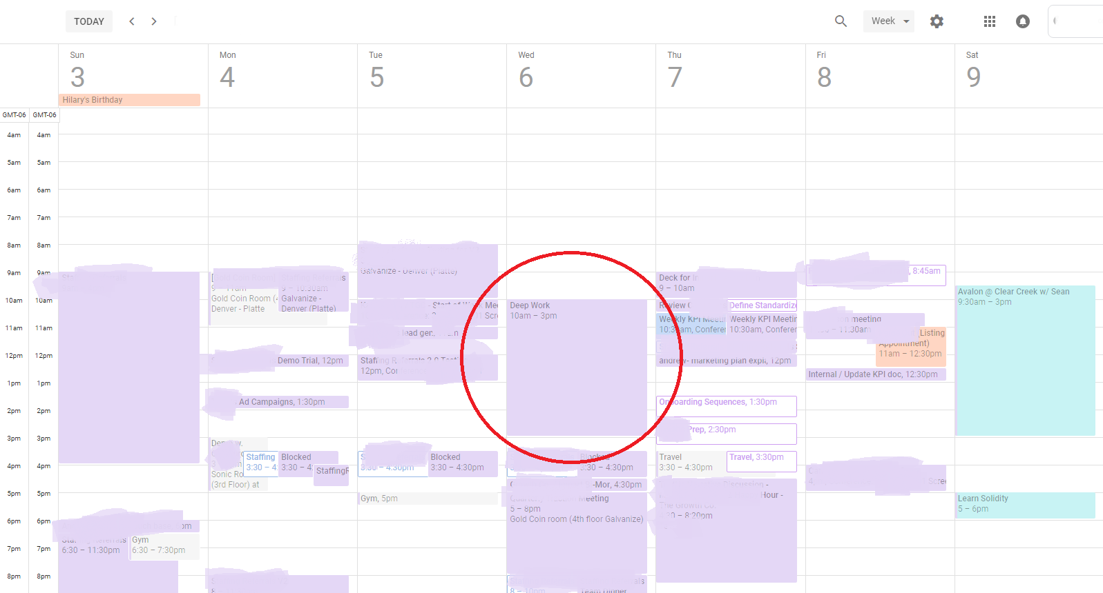 remote marketer's calendar