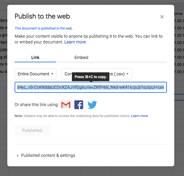 publish as csv