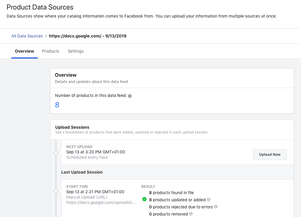 facebook product data sources