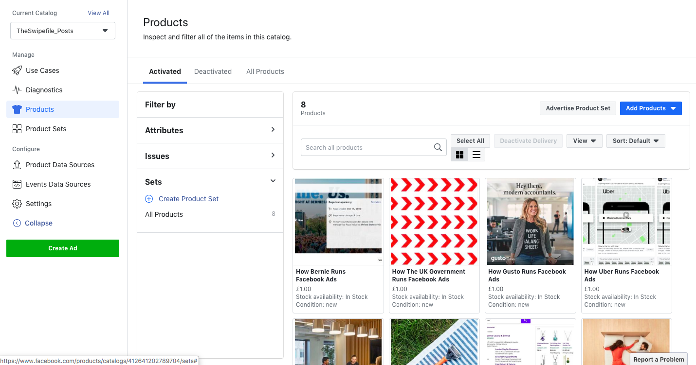 facebook product sets preview