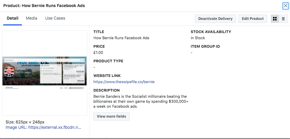 facebook product upload preview