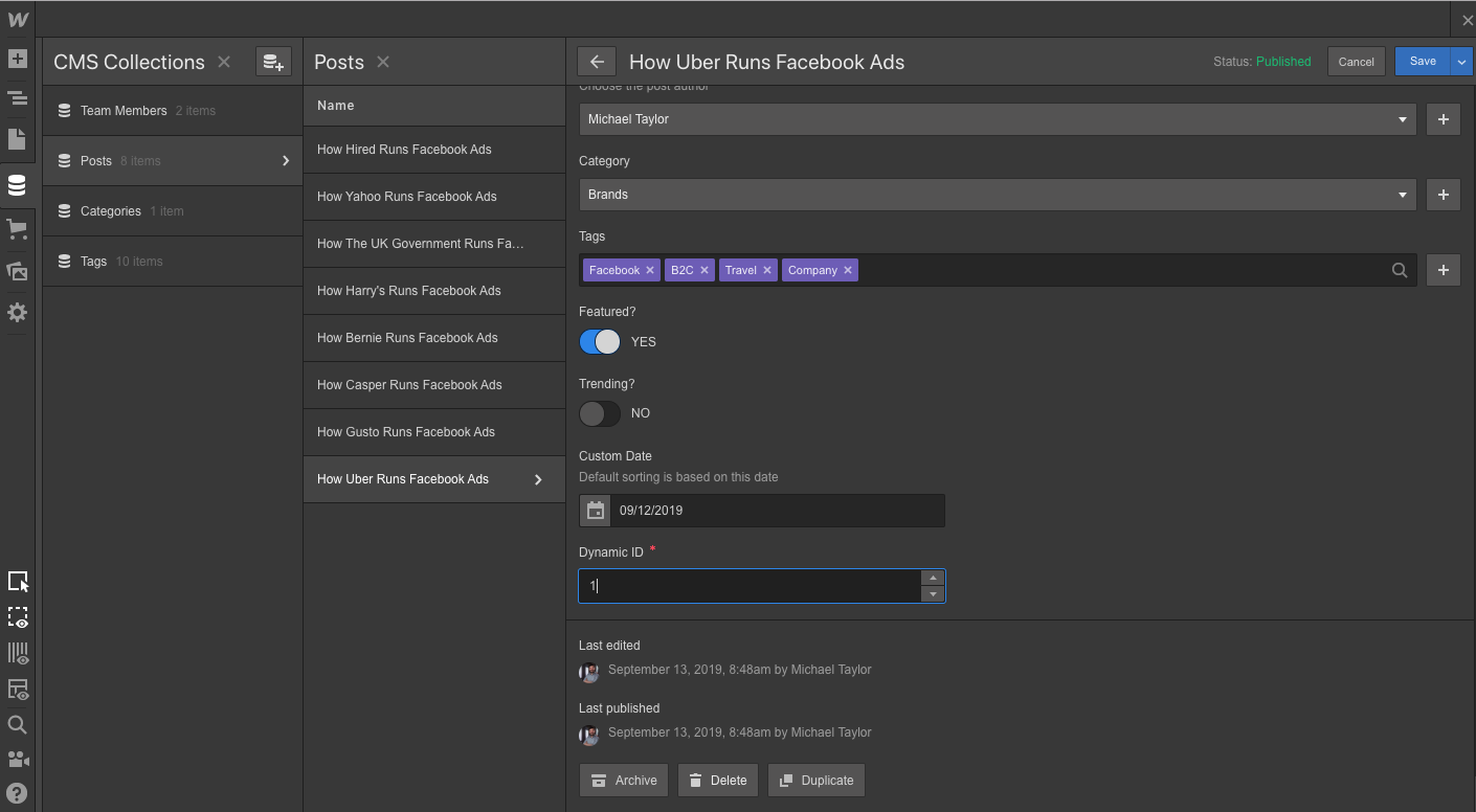 webflow dynamic content ids