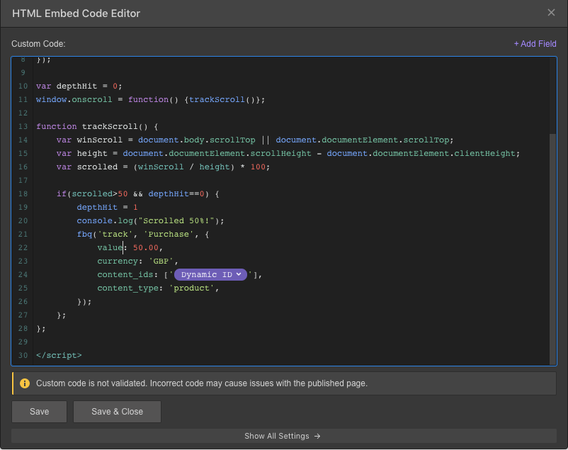 dynamic id in embed code