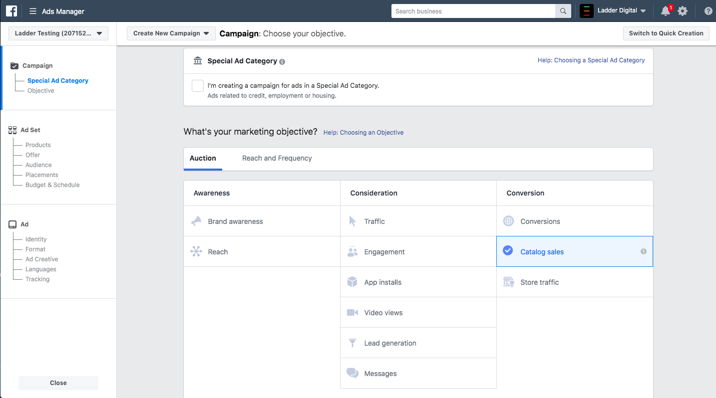 facebook dynamic product ads campaign set up