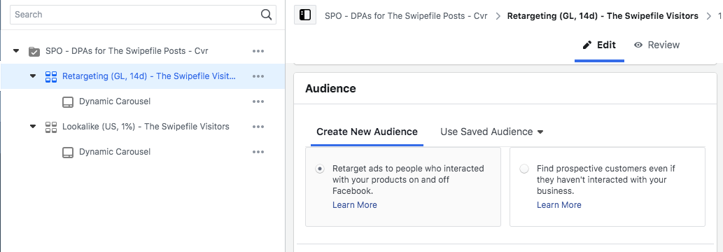 facebook ad set creation