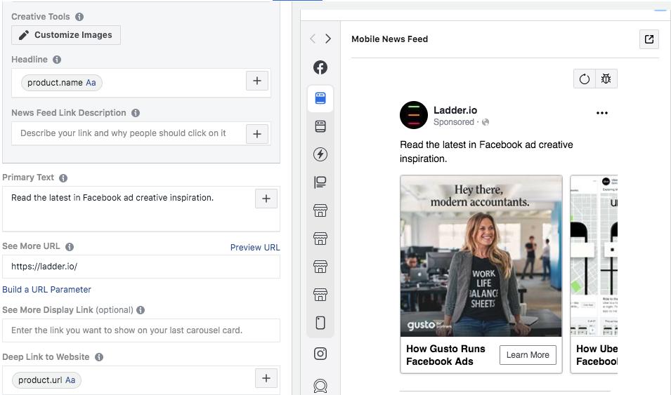 dynamic fields in facebook ads