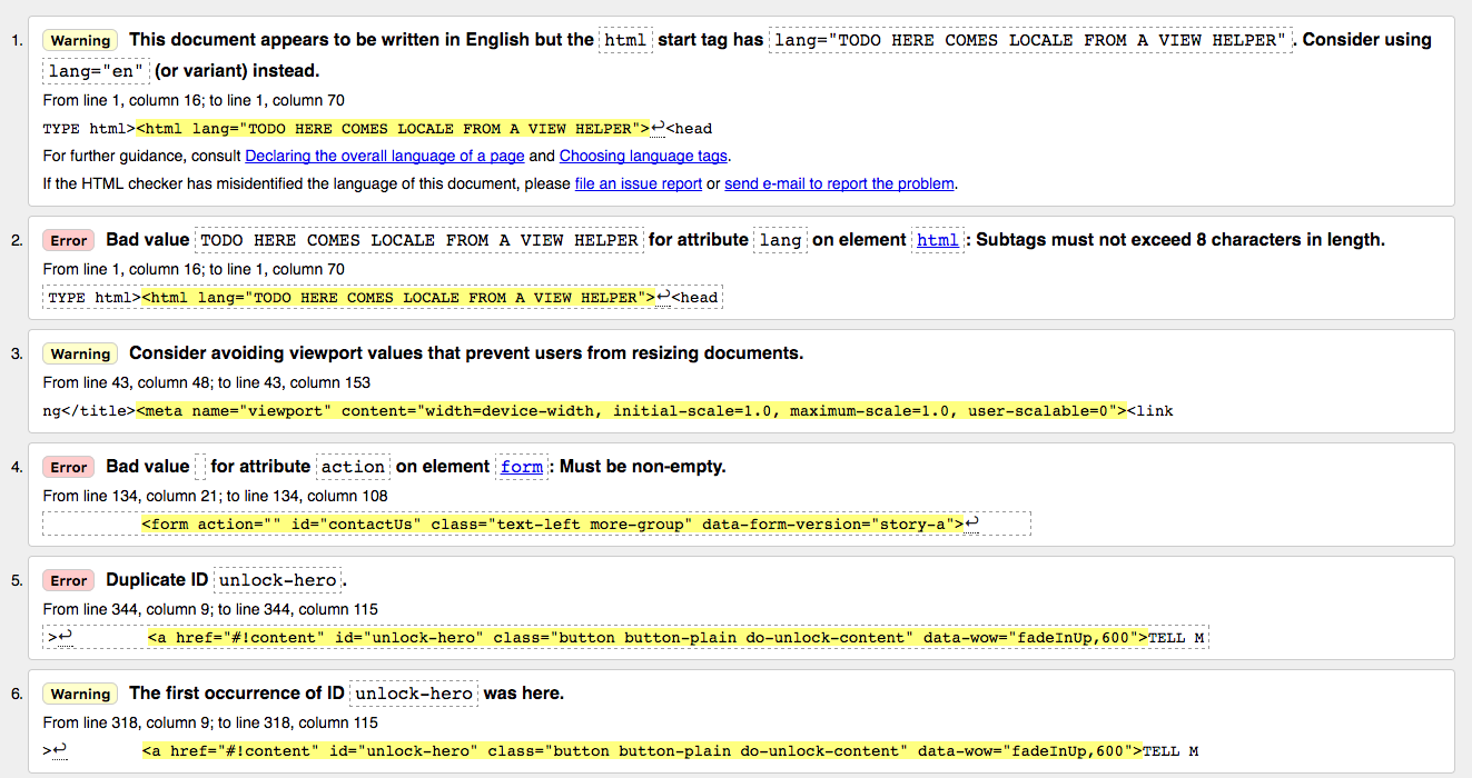 markup html errors