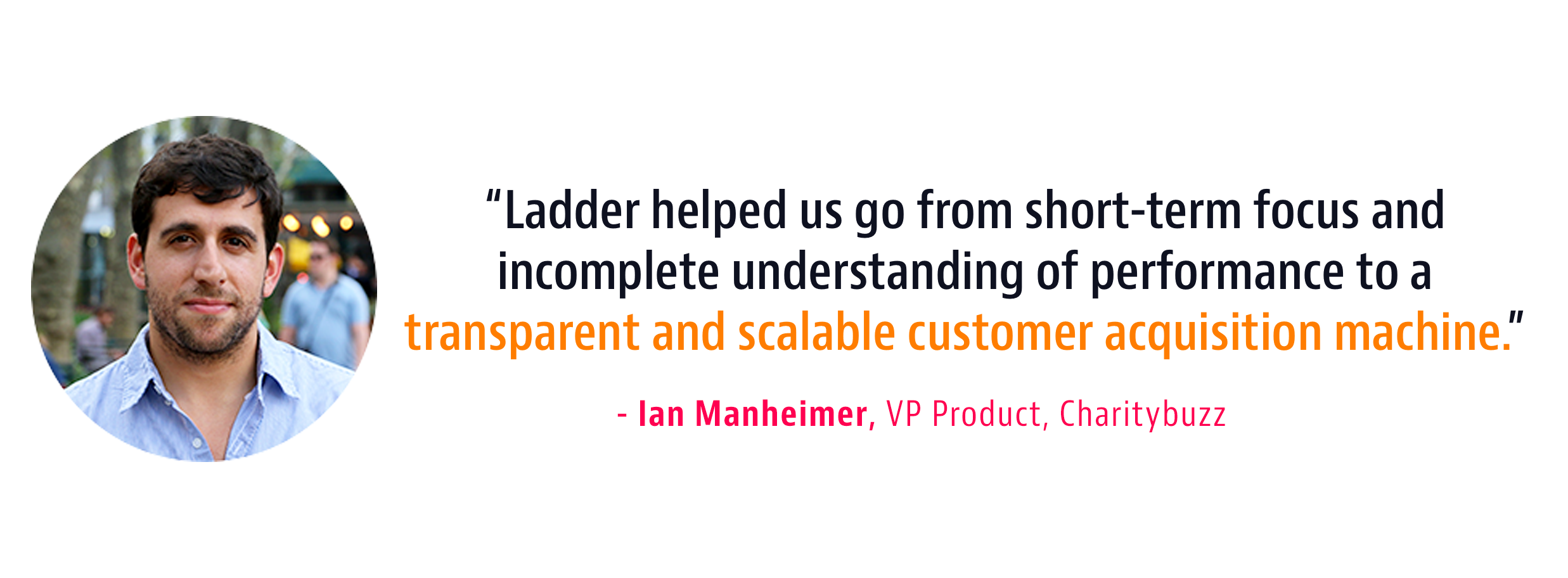 testimonial on Ladder's marketing prowess