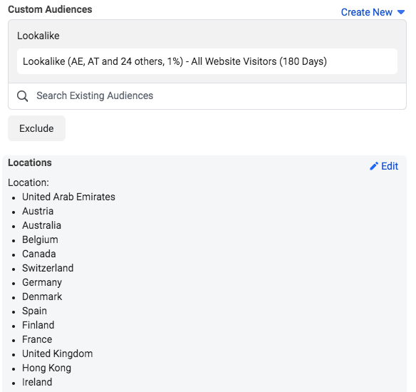 facebook ad campaign locations countries