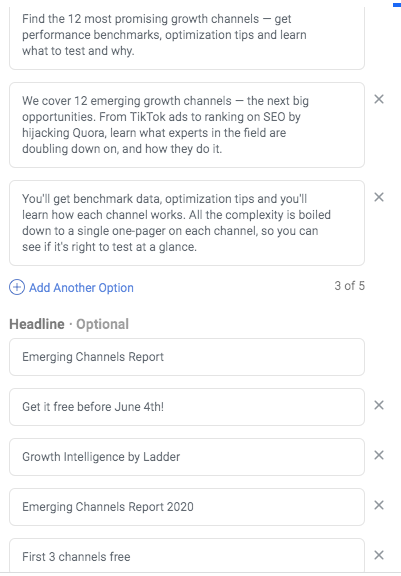 facebook ad headline and copy variations