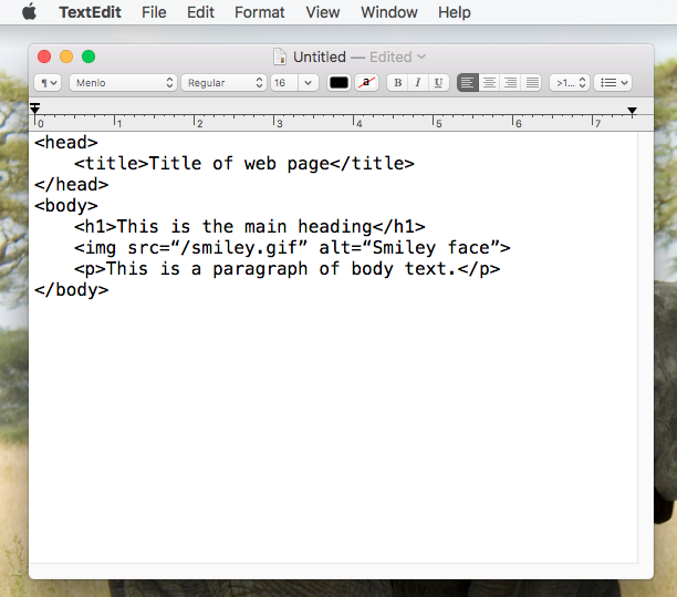 Writing HTML code in text editor