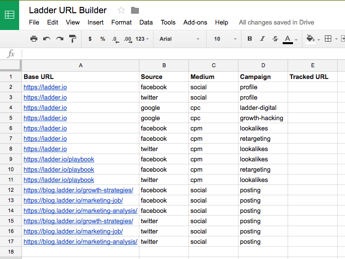 utm examples spreadsheet