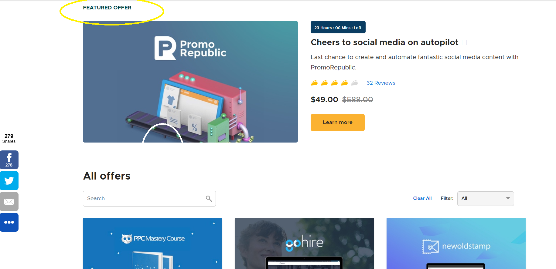 featured offer on appsumo