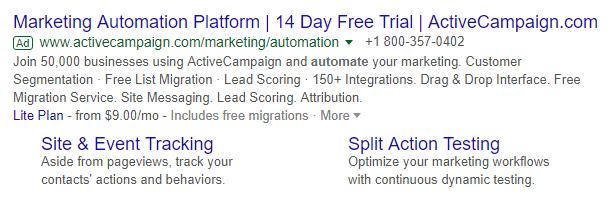 active campaign price qualification ad copy